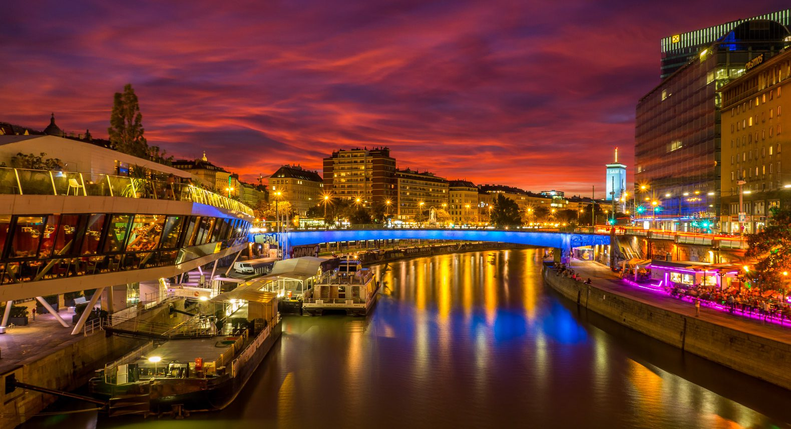 Evening view of the Danube Canal in Vienna