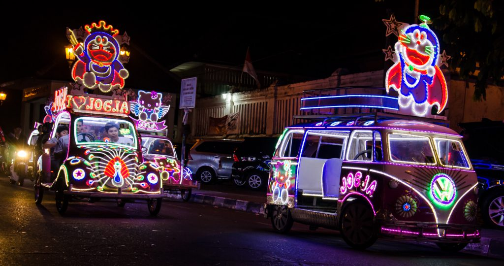 Awesome things to do in Yogyakarta - Skelter cars with sparkling lights at Alun Alun Selatan Kraton