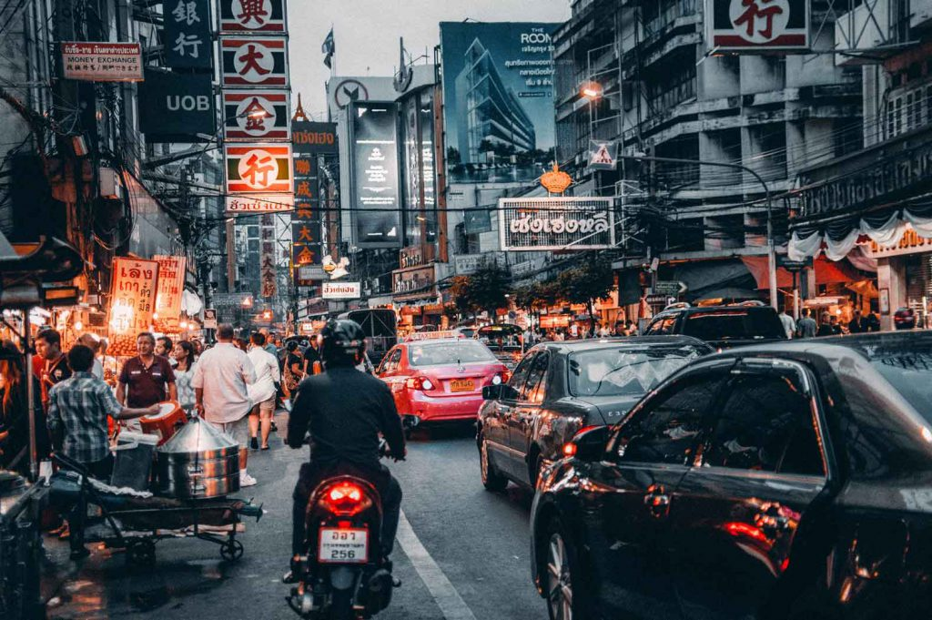 Crazy traffic in Bangkok, Thailand: an important hub for any round the world trip that includes Southeast Asia