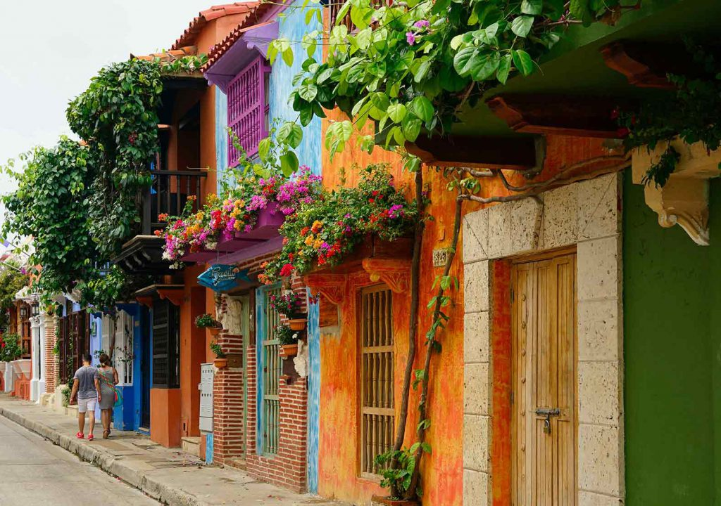 Beautiful colored houses in the streets of Cartagena on the coast of Colombia