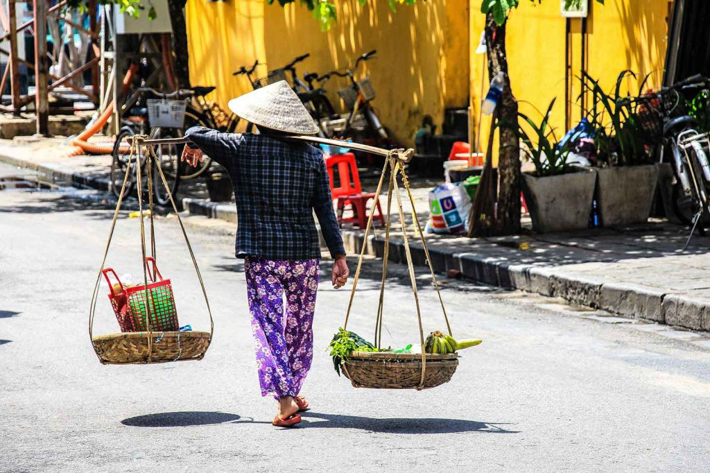 Plenty of opportunity to spot the typical conical Vietnam hats on our round the world itinerary