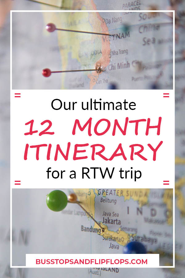Our ultimate around the world itinerary for 12 months! See how we do it and get ideas for your own RTW trip itinerary.