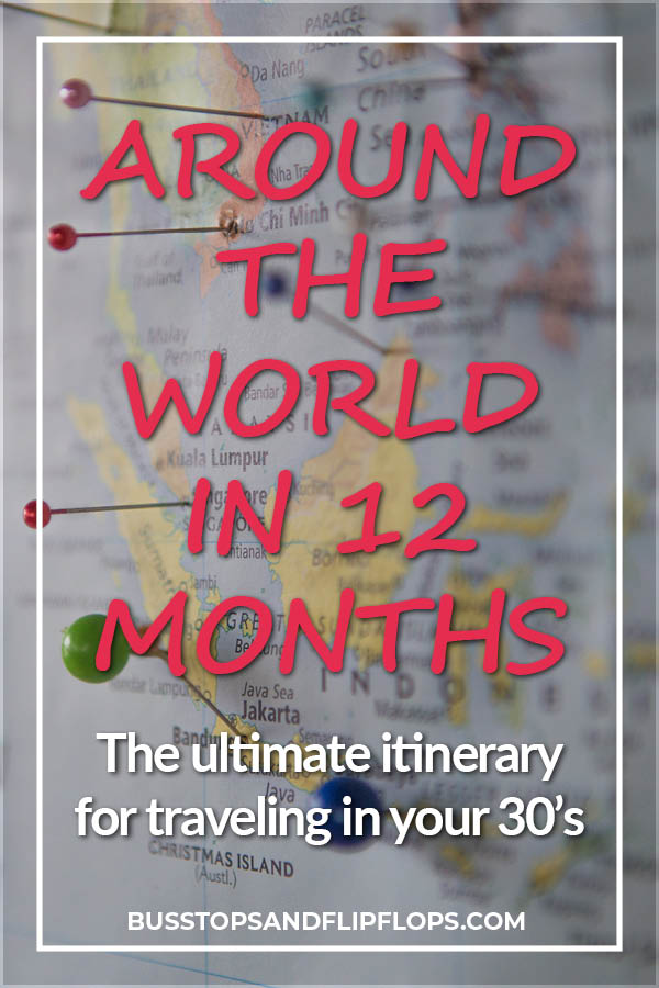 We're sharing our ultimate round the world trip itinerary. Traveling in your 30's requires different round the world itinerary ideas than when you're younger. We've tailored this RTW itinerary to include adventure and relaxation, cities and countryside. Go check it out!