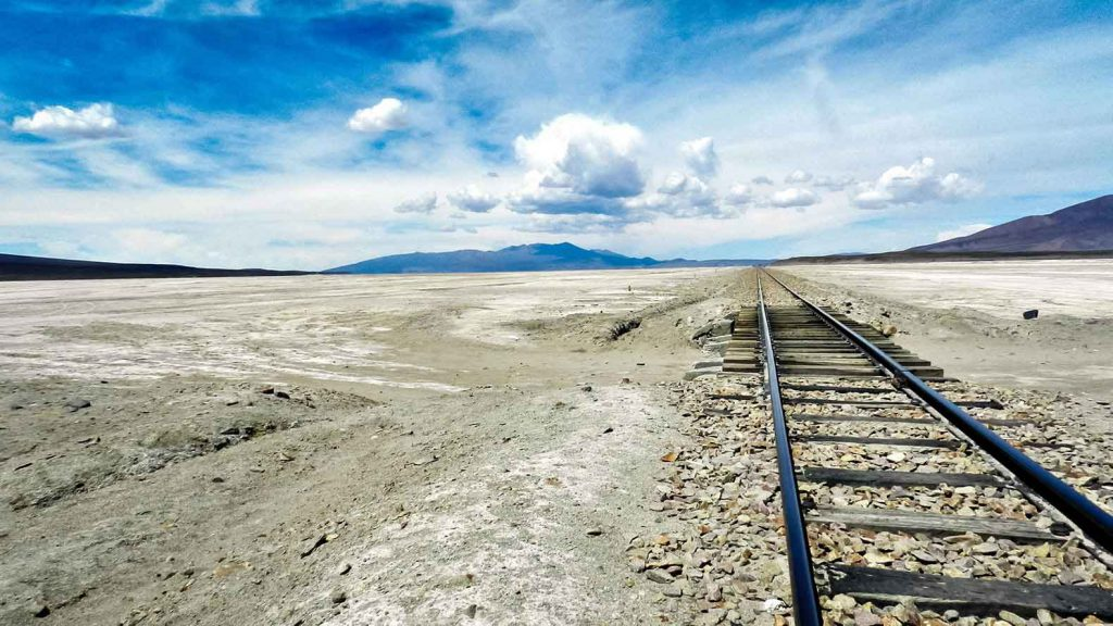 An abandoned train track in the Salar de Uyuni - one of the stops on our RTW itinerary