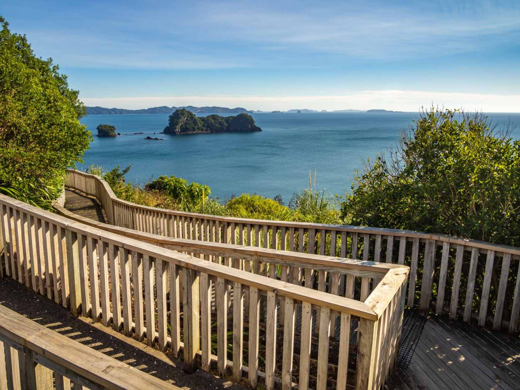 View at the start of the track to Cathedral Cove  on the Coromandel Peninsula in New Zealand