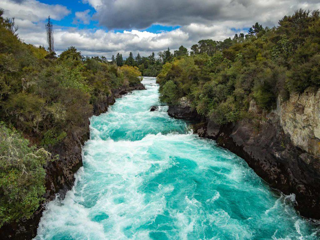 Huka Falls between Rotorua and Taupo, New Zealand.