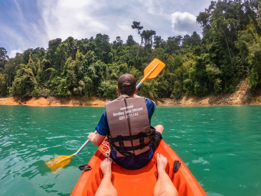 Kayaking during our Khao Sok Lake Trip