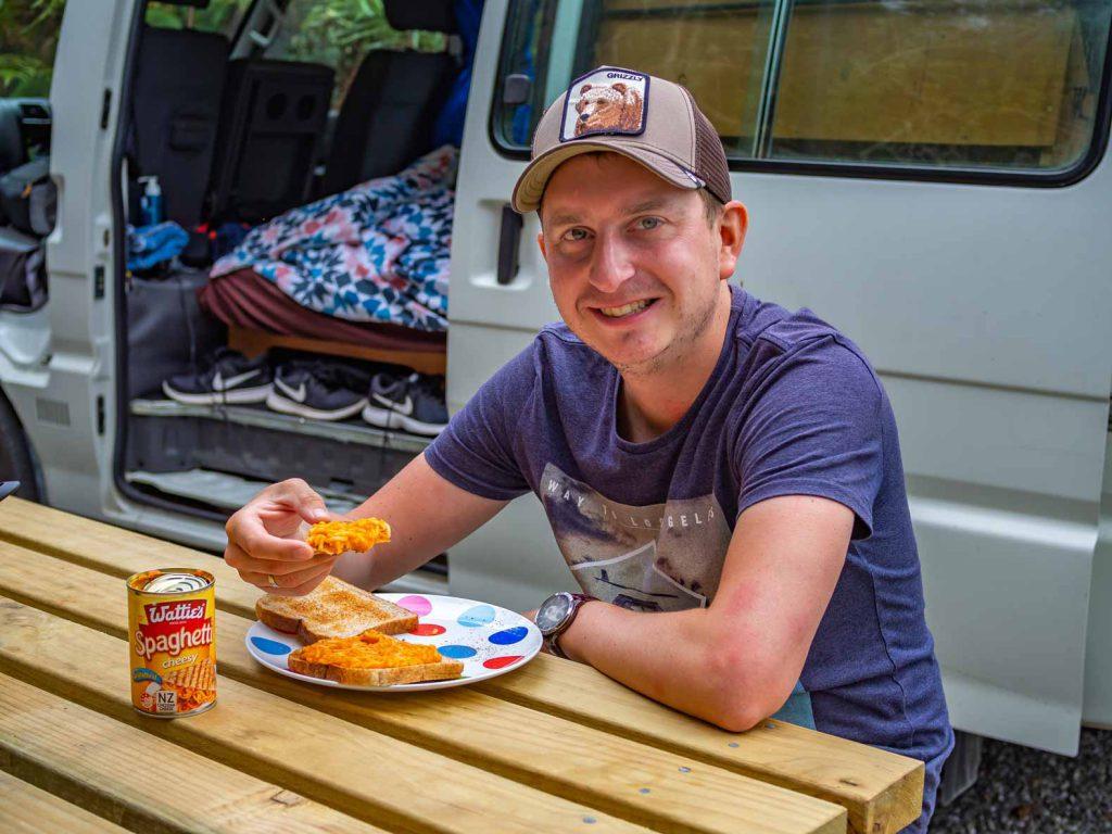 Eating spaghetti on toast in New Zealand