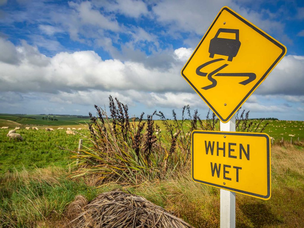 Drive carefully when it's wet in New Zealand