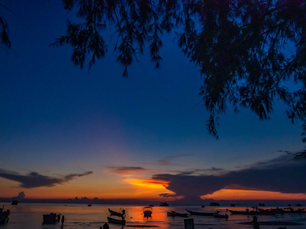Sunset view from Sairee Beach, Koh Tao, Southern Thaialnd