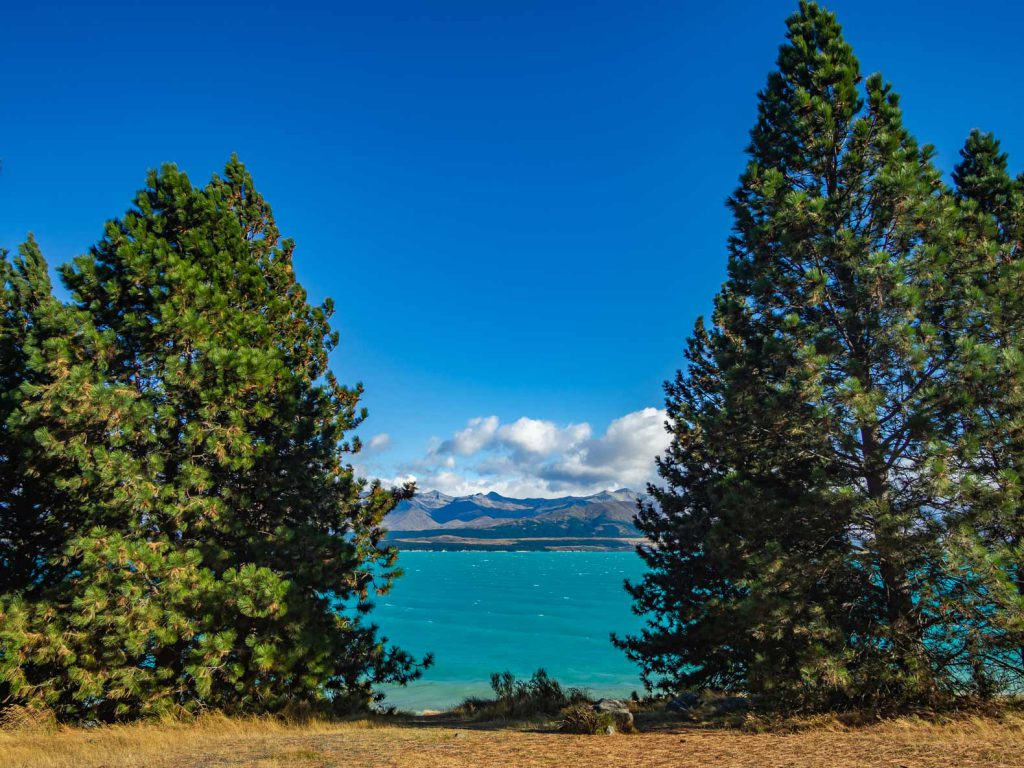 Hồ Pukaki trong xanh đến khó tin ở New Zealand.