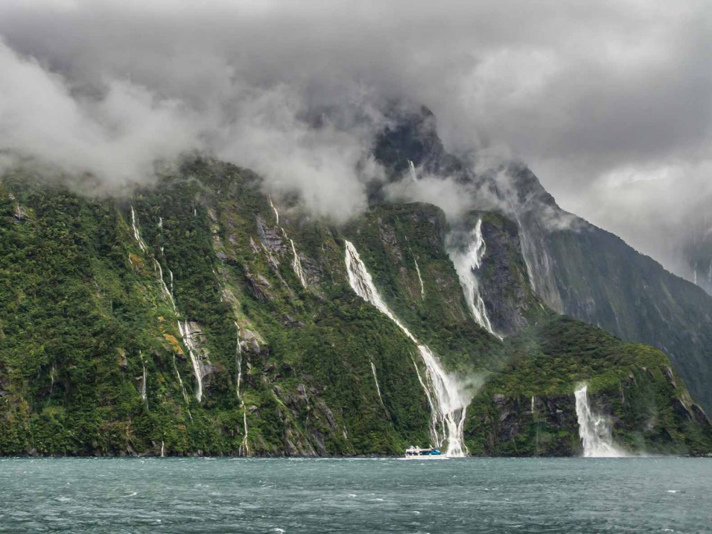An awesome New Zealand image: the Milford Sound during heavy rainfall.
