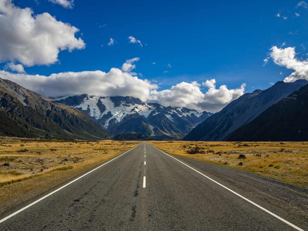 One of the more famous images of New Zealand: the road to Mount Cook.