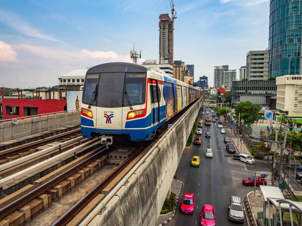 The BTS Skytrain is a great way to get around the newer parts of Bangkok