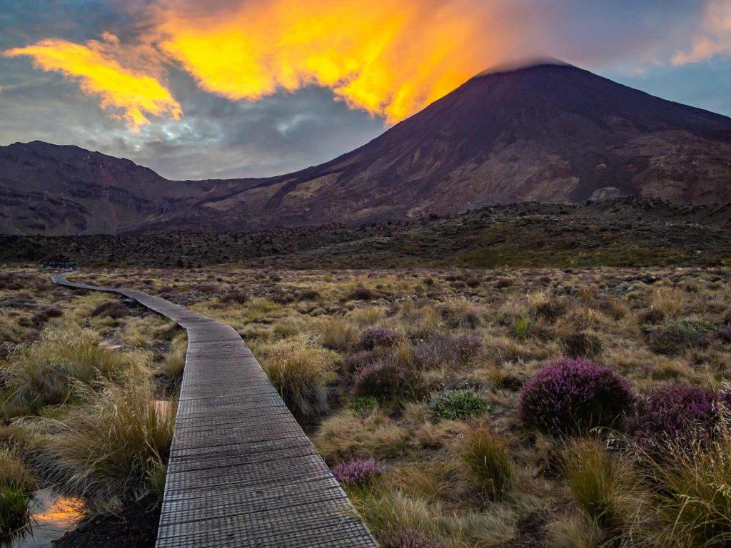 Bình minh ở Tongariro Alpine Crossing, New Zealand.