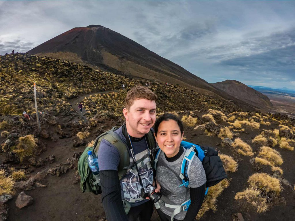 Climbing to the top of the Tongariro Alpine Crossing: New Zealand North Island Hike