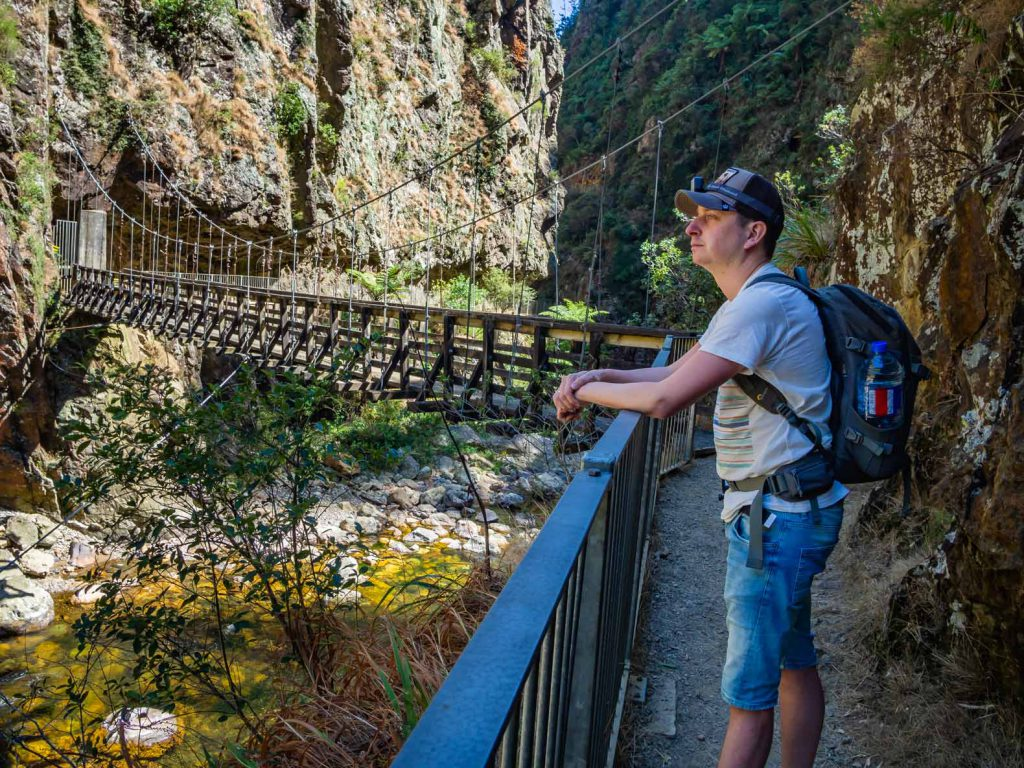 Bridge over the river gorge on the Karangahake Windowz Walk in New Zealand