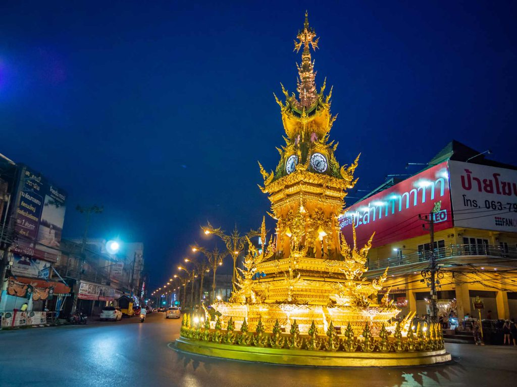 Light show at the clock tower of Chiang Rai