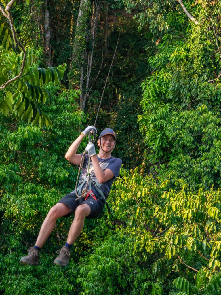 Geert ziplining at the Gibbon Experience