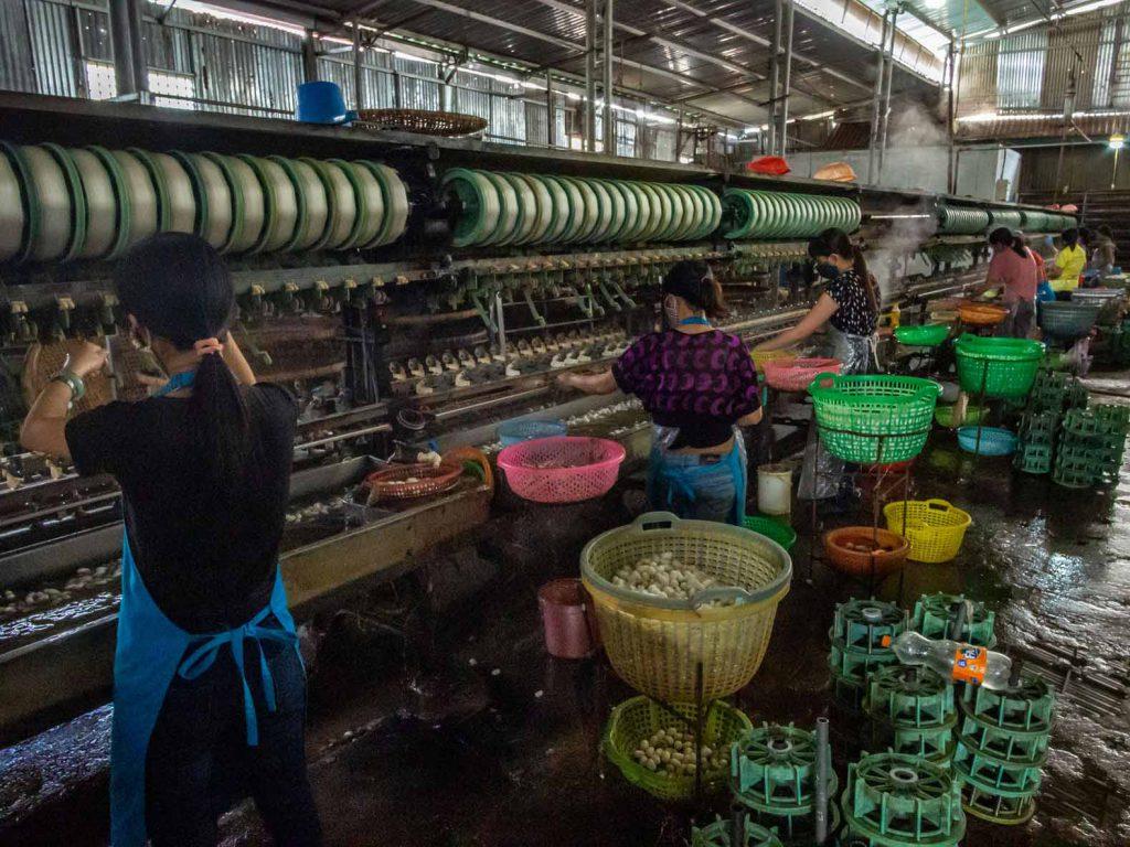 Workers in a silk factory near Dalat, Vietnam