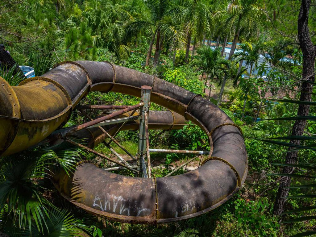 View from the top of the slides at the Hue water park