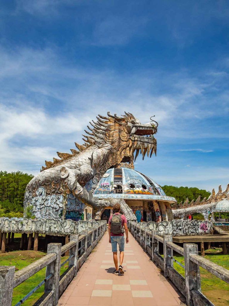 The first structure you see when entering the abandoned water park of Hue