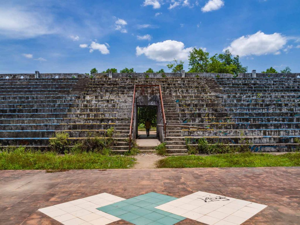Abandoned amphitheatre at the Hue water park