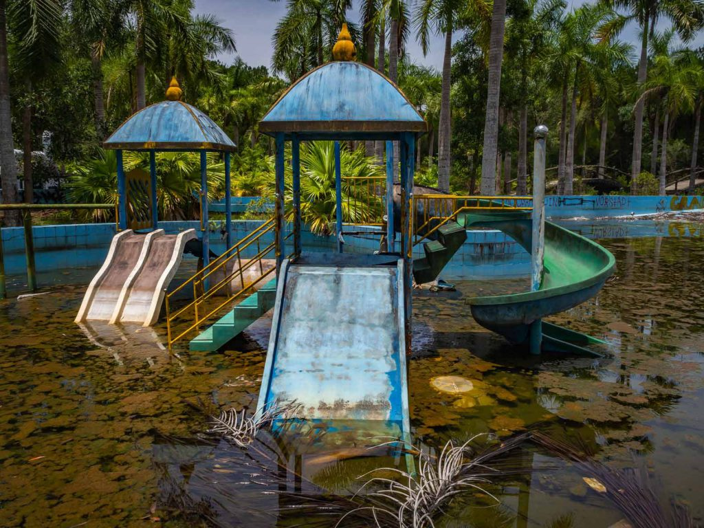 Even the play sets were put in place before the Hue water park was abandoned