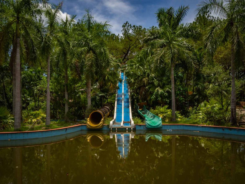 Water slides at the abandoned water park of Hue