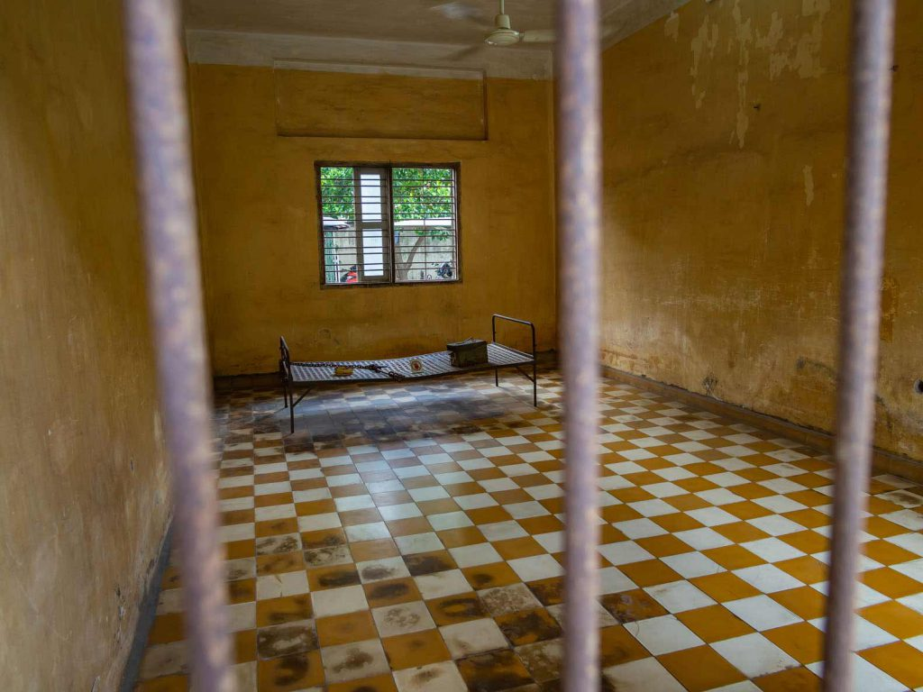 Torture chamber at Tuol Sleng Genocide Museum