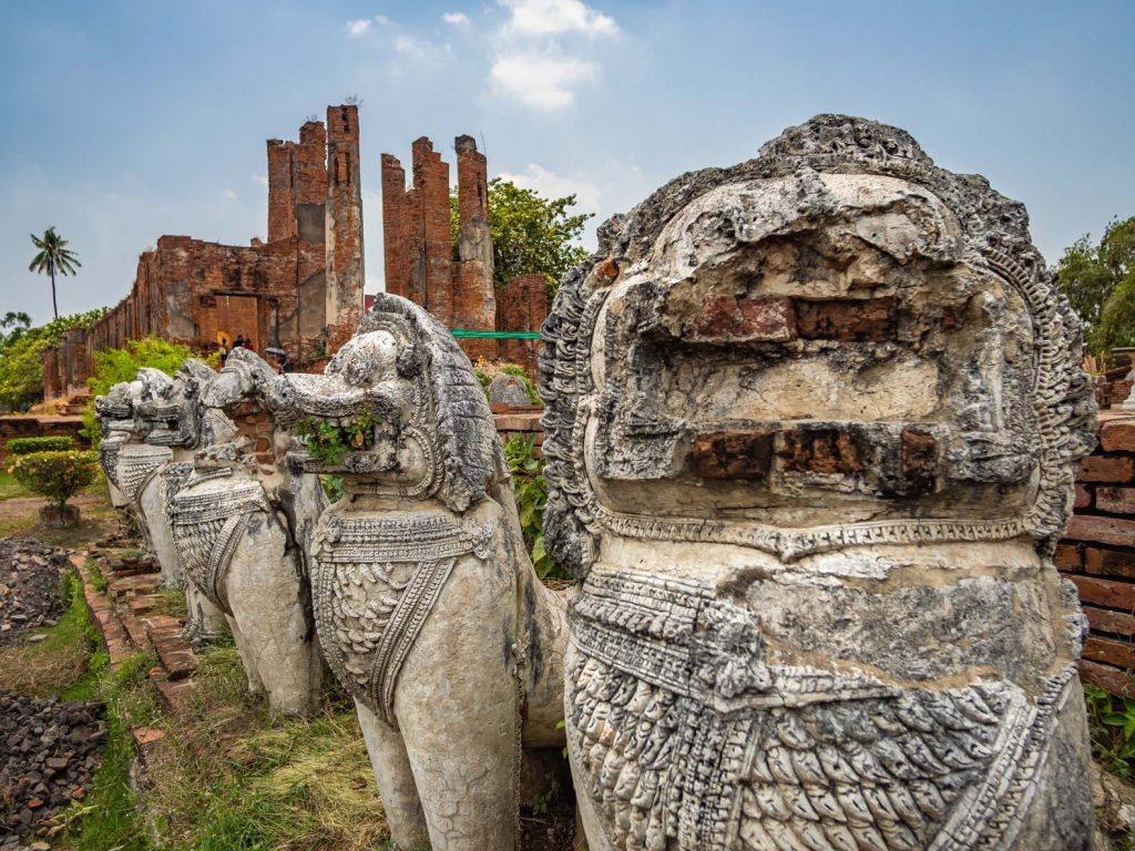 Buddhist dog statues in Ayutthaya UNESCO historical park