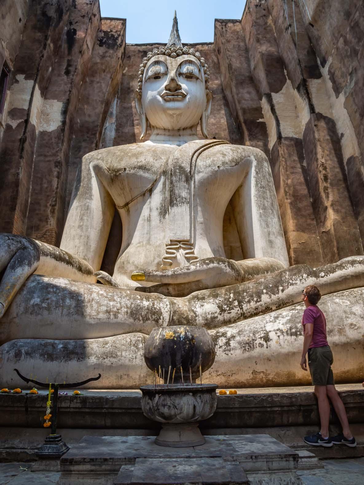 Giant seated Buddha at Wat Si Chum at Sukhothai historical park