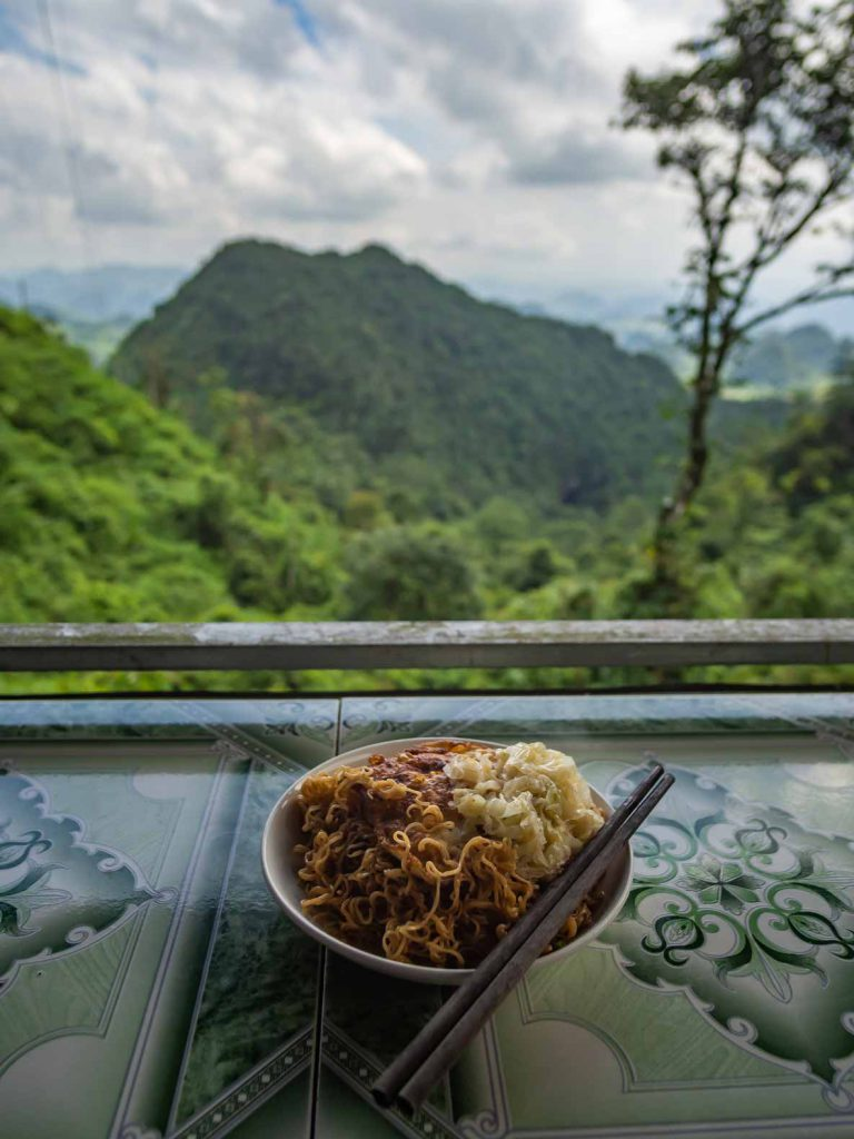 Eating noodles at our stop at Heaven Gate on the Ha Giang motorbike loop