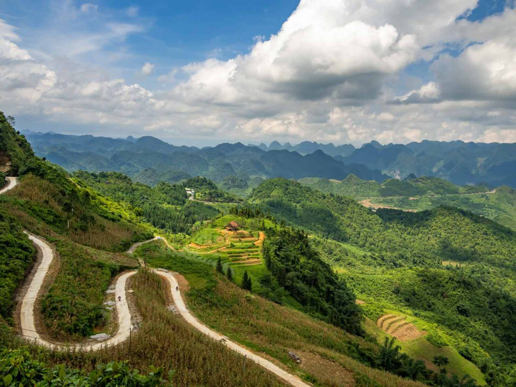 Rice paddies and woods in the mountains of the Ha Giang Loop