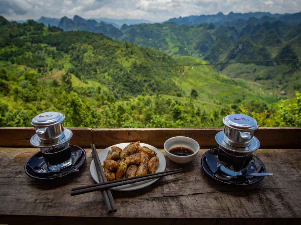 Vietnamese coffee and spring rolls with an awesome view in Northern Vietnam