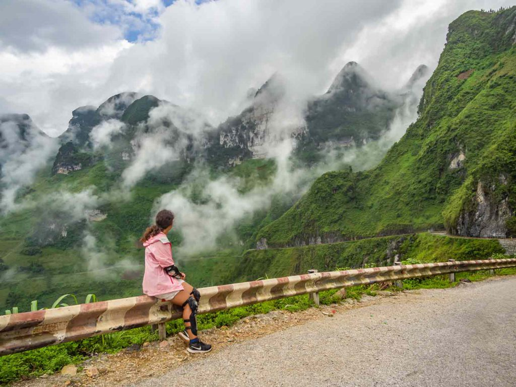Enjoying the view at the side of the road during the Ha Giang motorbike loop