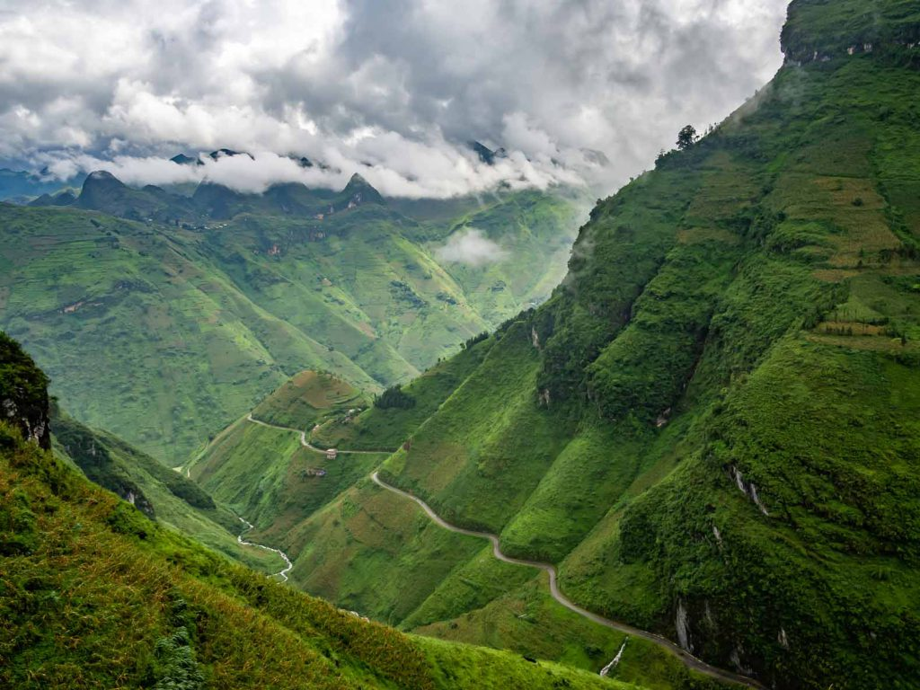 Winding roads through the mountains in the Ha Giang province