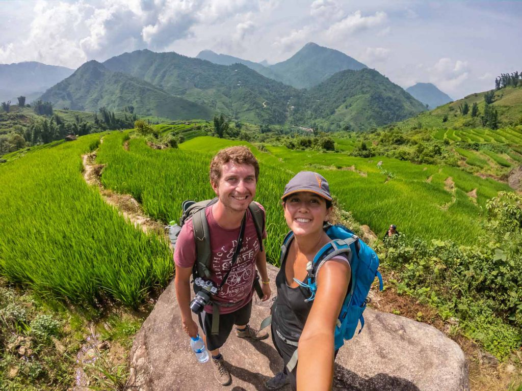 Selfie in the rice fields nearby Sapa in Vietnam