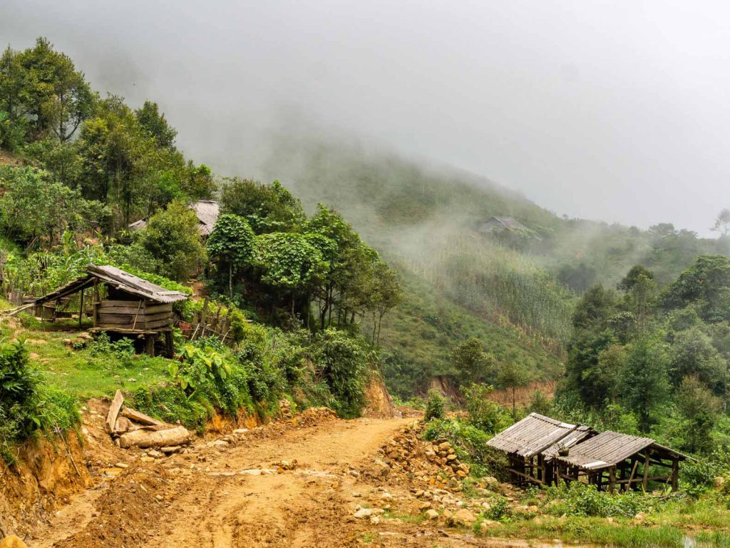 Leaving the village on day 1 of our trekking in Sapa