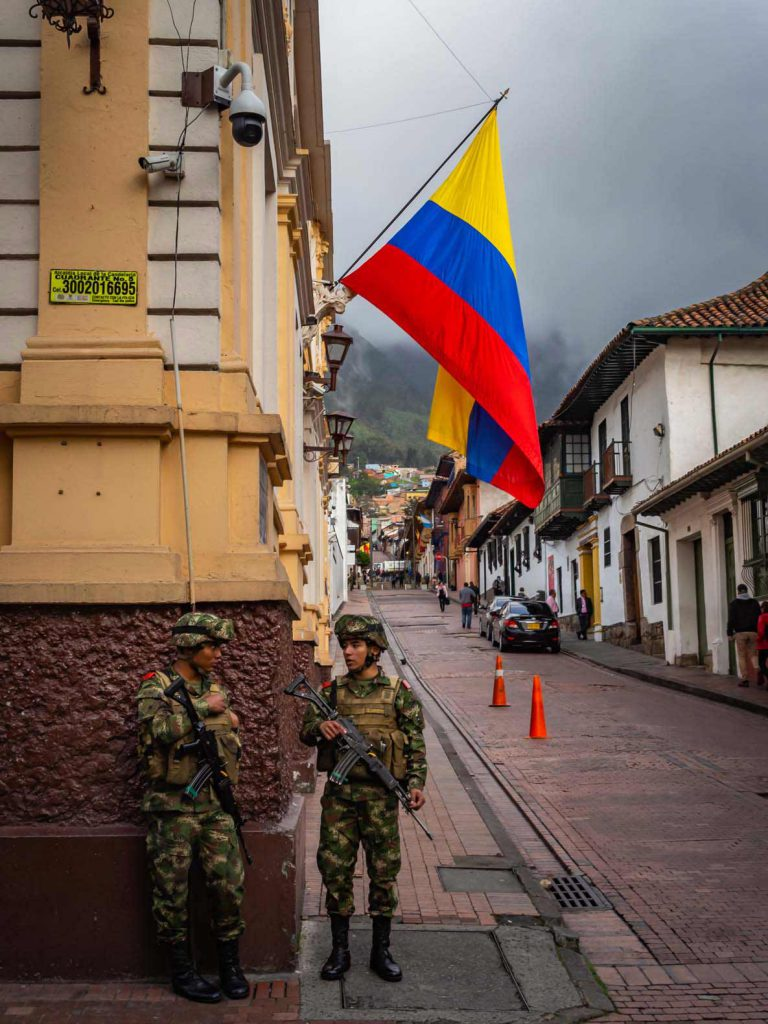 Armed Guards keeping Bogota safe to visit for tourists