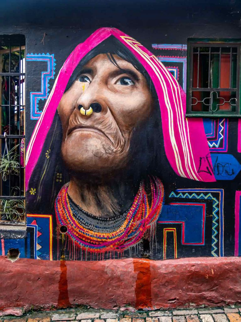 Bogota Graffiti of old woman