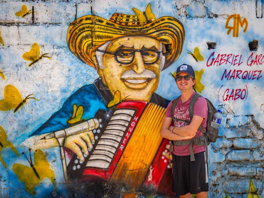 Wall art, of the famous Colombian writer Gabriel Garcia Marquez, in Cartagena, Colombia
