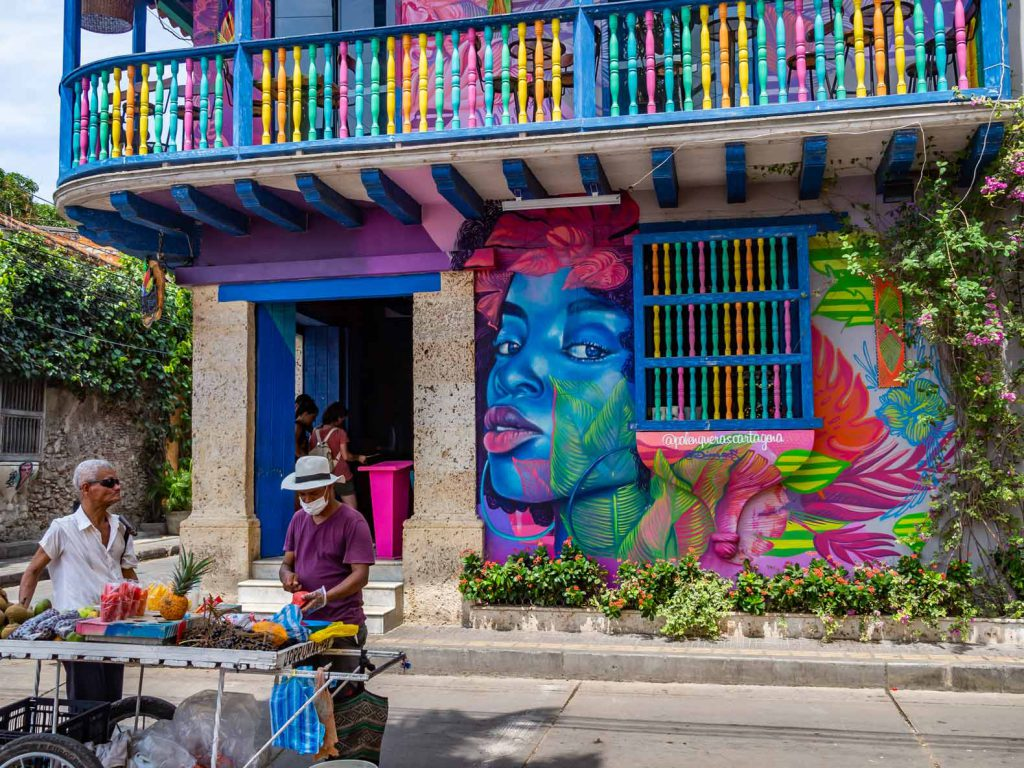 A restaurant decorated with graffiti in Cartagena, Colombia