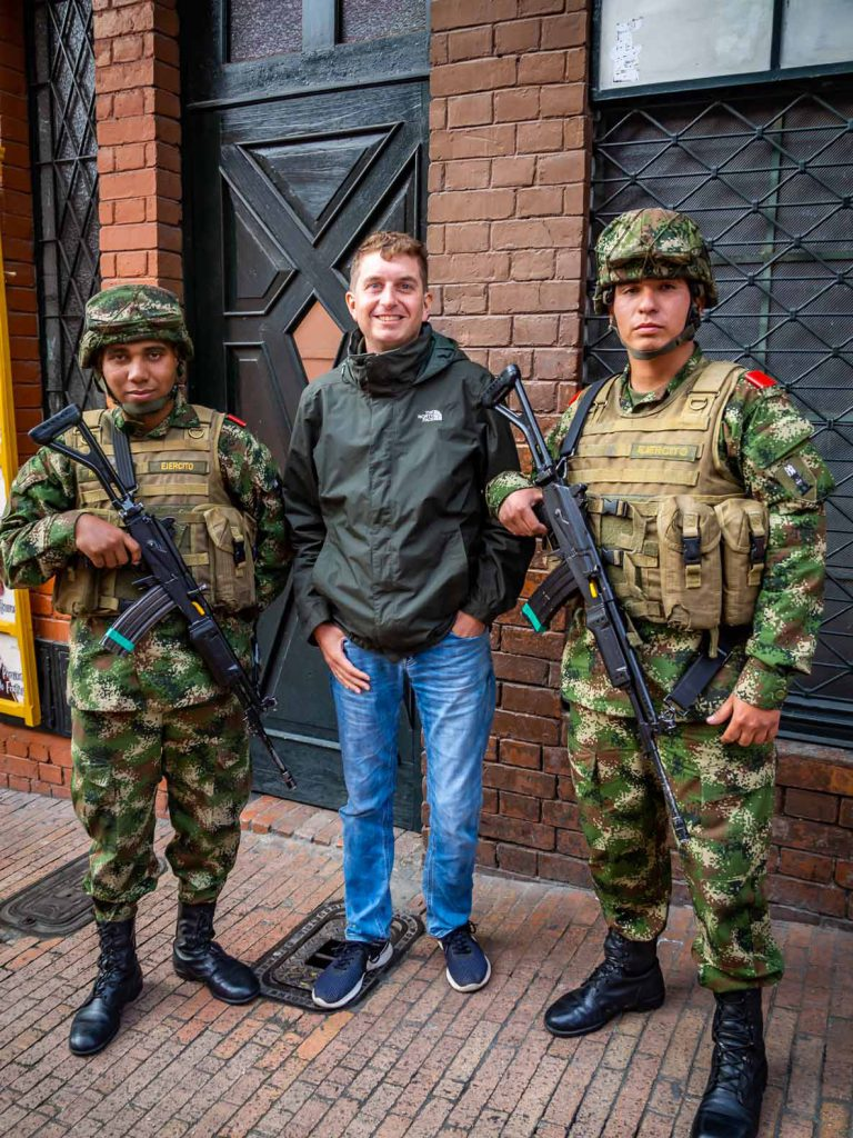 Geert with Bogota police