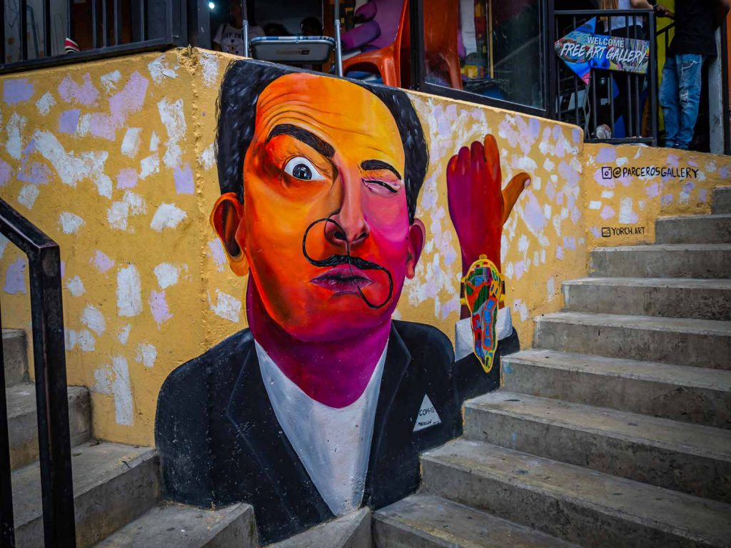 Urban art of Dali in Comuna 13, Medellin, graffiti in Colombia