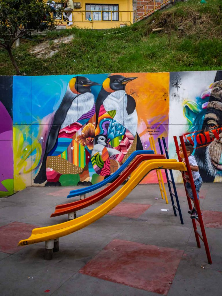 Even the playgrounds are stunning. Graffiti in Colombia, Medellin, Comuna 13
